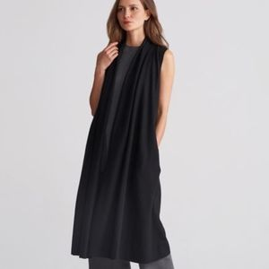 Eileen Fisher Shawl Collar Long Boiled Wool Vest